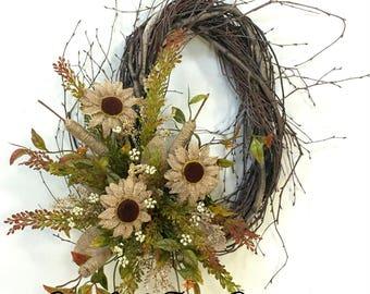Sunflower Wreath, Sunflowers, Summer Wreath, Fall Wreath, Sunflower Door Decor, Birch Wreath, Fall Wreath, Burlap Sunflowers, Natural Wreath