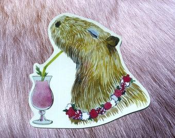 Capybara drinking coctail sticker