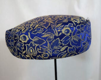 Vintage 1960s royal blue and gold metallic large pillbox hat union made