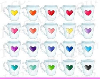 50% OFF Coffee Mug Clipart, Coffee Mug Clip art, Heart Mug, Heart Cup, Cute Cup Clipart, Tea, Heart Prints, Planner Digital, Commercial