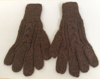 Unisex Knitted Alpaca gloves,Taupe natural shade,My Peruvian Treasures,soft warm gloves,colorful gloves,Peruvian hand knitted gloves
