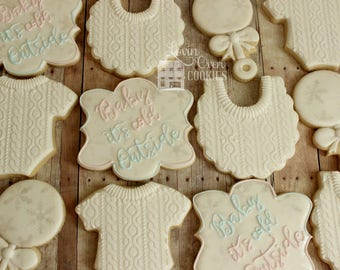 Winter Wonderland - Baby it's Cold Outside Themed Decorated Sugar Cookies - 1 Dozen
