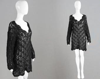 Vintage 70s 80s Black Crochet Dress Sheer Beach Cover Up Vacation Dress See Through Dress Black Knitted Dress Holiday Dress Boho Festival