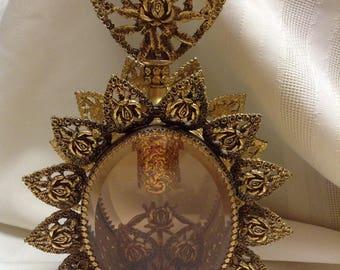 LARGE Vintage Gold Filigree Ormolu Amber glass PERFUME Bottle stopper Vitrine