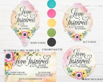 Premade Boutique Logo Package, Business Card Template, Floral Logo, Photographer Logo, Shabby Chic Logo, Branding Package