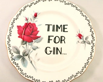 Hand Decorated Vintage Side Plate Red Flowers Floral Funny Gift Time For Gin Wall Ornament Pretty Decoration Present for Her Adult Alcohol