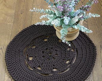 Small Handmade round crochet rug, brown rug,  polyester yarn rug, home decor rug, home accessory, handmade rug for home