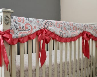 Coral, Gray and White Paisley Minky Rail Guard with Gray Lattice Back and Coral Satin Trim and Ties - Crib Bedding, Reversible, Bumperless