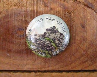 Vintage Old Man of the Mountain Souvenir Pin - New Hampshire Souvenir Pin Back Button - White Mountains Souvenir Button