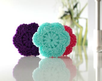 FLOWER scrubbie scouring pad 24 color choices nylon net scrubber sponge tawashi eco-friendly environment responsible kitchen dishes bath