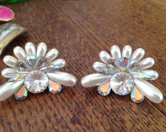 Plastic pearl and crystal clip-ons
