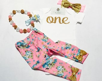 Baby girl first birthday outfit / Baby girl birthday outfit / Pink floral birthday outfit / Pink and gold birthday outfit /