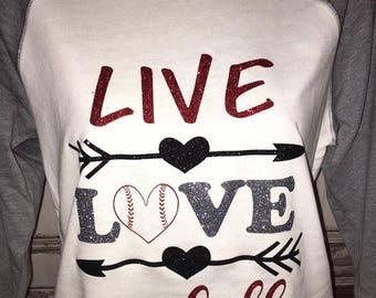 Women's Baseball Live Love Baseball Glitter Raglan Shirt