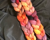 "Hand Dyed Roving, Falkland Roving, ""Dragon Fire"""