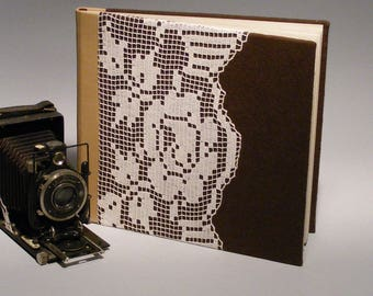 Large Brown Photo Album, Traditional Photoalbum, Hand Bound Album, White Hand-crocheted Lace, Beige Leather, Coffeebrown Felt, Gift for Her