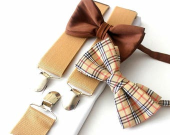 suspenders with two bow ties, beige-brown
