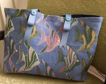 Blue tapestry large Betty Bag tote with fish woven into the design