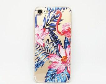 iPhone 8 case clear, iPhone 7 Case, Clear iPhone 6 Case, iPhone 6s Case, iPhone 6 Case, transparent case, iphone case rubber - Flamingo