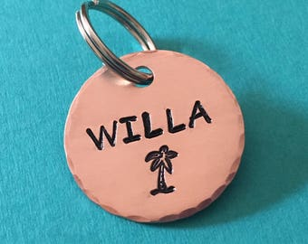 dog tag, pet id tag, tropical pet tag, copper id tag, dog tags for dogs, pet tags, palm tree id tag, personalized tag, beach tag, custom tag