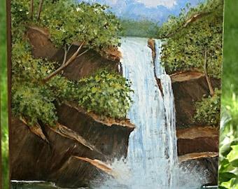 Scenic Waterfall and Ducks 24 x 12 inch Acrylic Painting