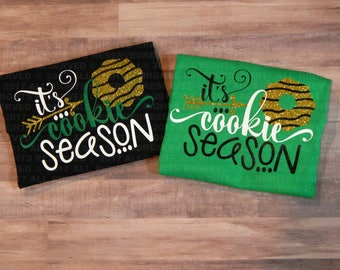 Girl Scout Cookie Tee Shirt Design, Cookie Sales Tee Shirt, Girl Scout Tee Shirt, Cookie Season, Glitter Tee Shirt, GC Cookie Shirt, GC