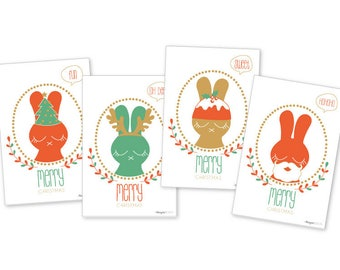 Christmas stationery - Foursome of rabbits Christmas cards - simple printed on recycled paper cards