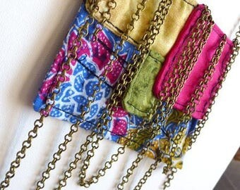 Colorful fabric necklace, bronze chain