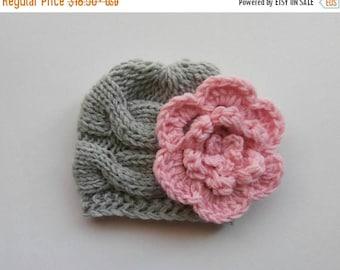 SALE 10% DISCOUNT Newborn Baby Beanie Hat, Knit Baby Hat, Girls Beanie Hat , Newborn Baby Hats , Baby Hat Photo Prop , Knit Baby Hat