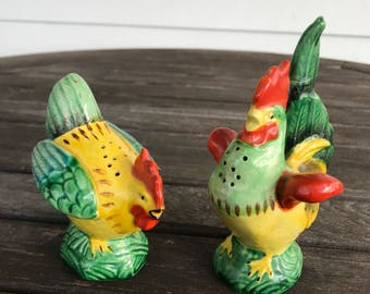 Vintage Rooster and Hen salt and pepper shakers