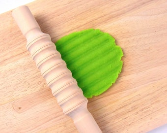 Wooden rolling pin / Dough Tool - Textured Rolling Pin