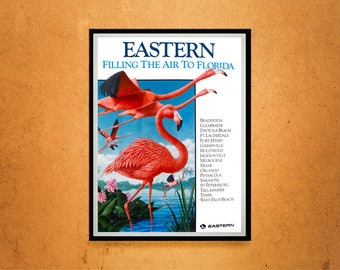 Reprint of a Vintage Airline Travel Poster - Eastern Airlines to Florida