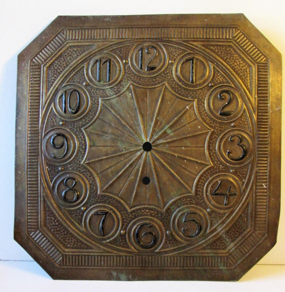 "Large Old 12"" x 12"" Solid Bronze Clock Dial for your Clock Projects - Steampunk Art - Metalworking - and Etc..."