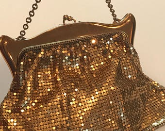 Signature gold mesh Deco evening bag by Whiting and Davis