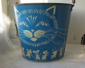 Soviet Vintage Children Blue cat mouse Tin Toy Sand Pail - made in USSR