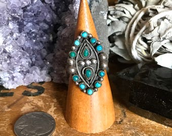 Vintage Zuni Turquoise Silver Ring