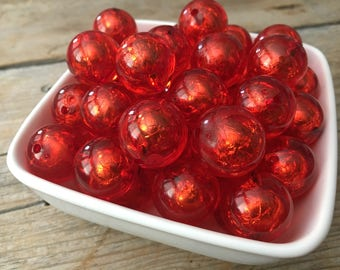 20mm Red Transparent Foil Chunky Bead, Christmas Bubblegum Bead, Valentines Acrylic Bead, DIY Chunky Necklace, 10 Count