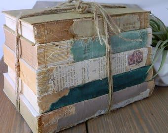 Shabby Farmhouse Vintage Books, Decor Books, Old Decorative Books, Wedding Table Decor, Stack of Books