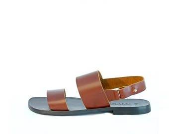 ON SALE Brown Leather Men's Sandals - Brown Sandals - Men Sandals - Stripe Sandals - Hand Made Shoes - Arama Shoes