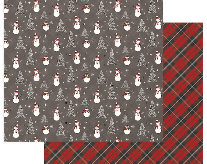 3 Sheets of Photo Play MAD 4 PLAID CHRISTMAS 12x12 Scrapbook Cardstock Paper - Frosty (Snowman)