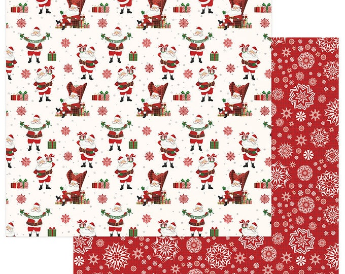 3 Sheets of Photo Play MAD 4 PLAID CHRISTMAS 12x12 Scrapbook Cardstock Paper - St. Nick