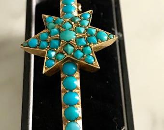 Seeing Stars! Victorian gold turquoise star bangle fits small medium wrist