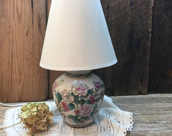 Vintage Ginger Jar Accent Lamp/Pink Flowers/Ivory Shade/Electric/Small