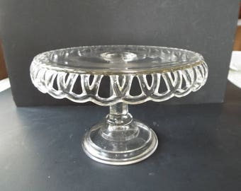 "vintage clear pressed glass scalloped edge cake stand pedestal 8.5"" x 5.5"""