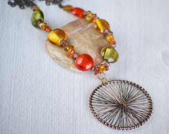 Orange Green Necklace Long Necklace with Wire Wrap Circle,Bohemian Colorful Necklace,Venetian Glass Necklace,Bohemian Necklace