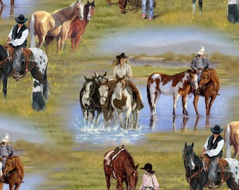 Western Cowboy / Cowgirl Horse Scenic Nature Outdoors Fabric #6220 By the Yard