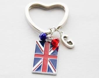 UK Keychain, Union Jack Keychain, London Keychain, England Keychain, Anglophile Keychain, England Keychain