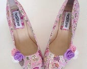 Liberty shoes, bridal shoes, liberty gallymoggers, wedding shoes, customised shoes, felt flowers, ladies shoes, low heel shoes, size 3-9 uk