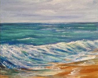 Beach Ocean Painting Blank Art Cards