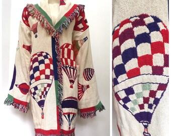 Vintage FRINGED Hot Air Balloon blanket coat