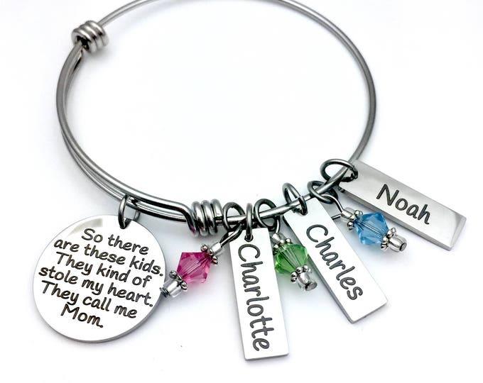 These Stole My Heart Customized Bangle Bracelet, gift for mom, gift for grandmother, bracelet with children's names, bracelet gift set